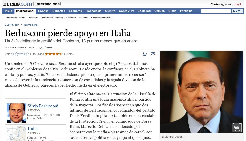 El Pais: Berlusconi perde consenso