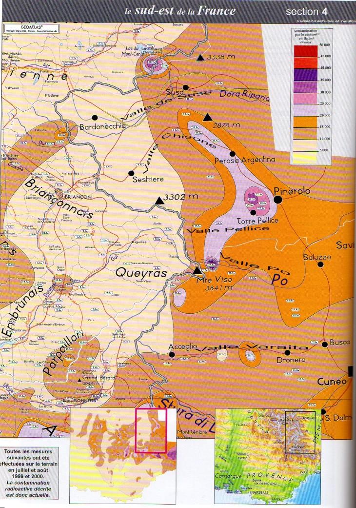 Cartina radioattività residua 1999-2001 Val Pellice-Pinerolo